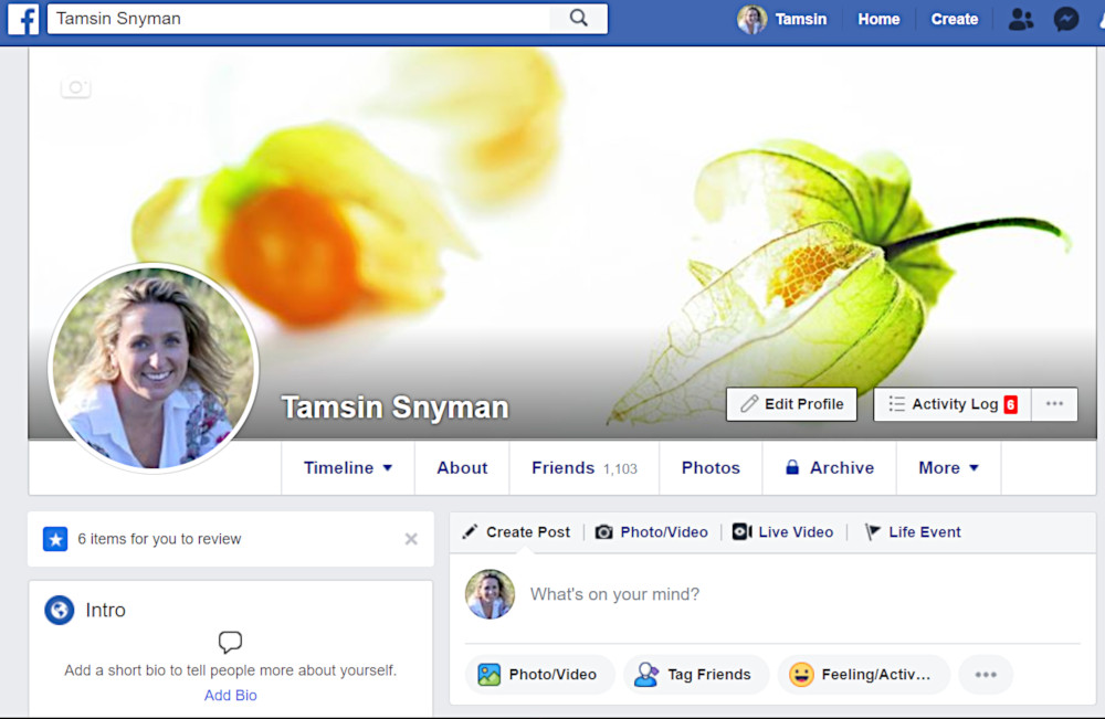 Tamsin Snyman on Facebook